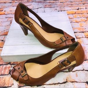 Retro 1970 Look THOM MCAN Brown Leather  Heels